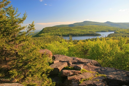 View of North-South Lake and the Hudson Valley in the Catskills Mountains in upstate New York State photo