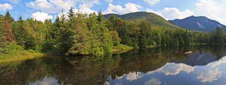 Panoramic view from Marcy Dam in the High Peaks region of the Adirondack Mountains of New York