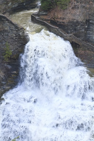 enfield: A torrent of water plunges into the gorge at Lucifer falls after the Spring thaw and rainy season Stock Photo