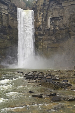 Taughannock falls roaring after Spring thaw near Ithaca, New York