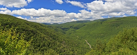 Panoramic View of Kaaterskill Clove and Route 23A as seen from Artists' Ledge near Palenville, NY in the Catskills Mountains of New York