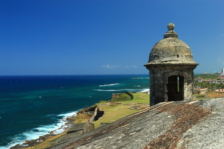 fortress: Sentry box overlooking the Atlantic Ocean at Fort San Cristobal in Old San Juan, Puerto Rico