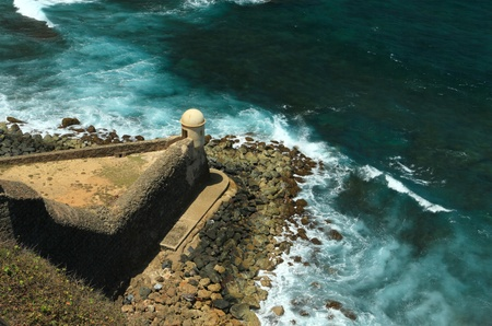 sentry: Garita Del Diablo - lonely sentry box overlooking the Atlantic Ocean at Fort San Cristobal in Old San Juan, Puerto Rico