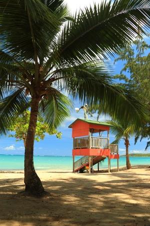 A palm shaded lifeguard hut stands in front of a calm aqua bay at Seven Seas Beach near Faardo, Puejrto Rico