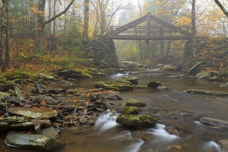 A hand-hewn bridge over a stream in foggy Platte's Clove in the Catskills Mountains of New York