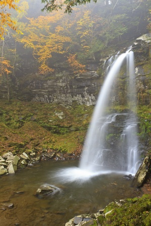 A long exposure of misty Plattekill Falls in the Catskills Mountains of New York photo