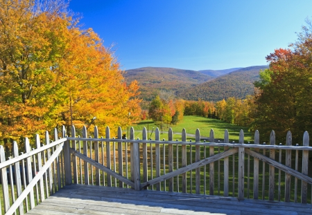 Deck overlooking a ski run at Belleayre Mountain in the Autumn in the Catskills Mountains of NY Stock Photo