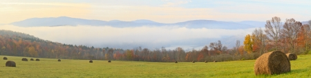 Foggy Autumn morning on the Pepacton Reservoir in the Catskills Mountains of New York