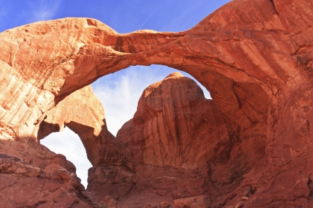 View from Below of 104' high by 148' wide Double Arch at Arches National Park, Utah Stock Photo - 14463327