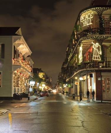 night street: Christmas Lights on the corner of Royal and Dumaine Strrets in the French Quarter of New Orleans