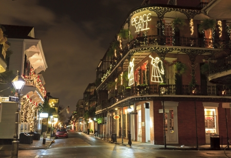 Christmas Lights on the corner of Royal and Dumaine Strrets spell out a very Southern greeting in the French Quarter of New Orleans