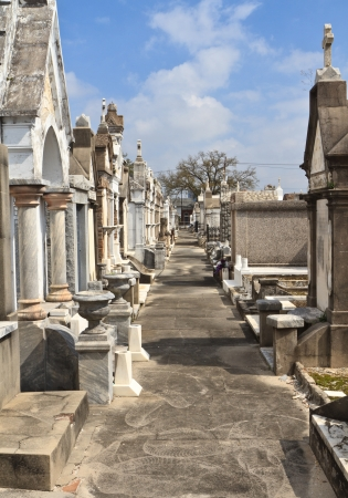 A row of marble and granite above ground tombs in Lafayette Cememtery #2 in New Orleans, Louisiana
