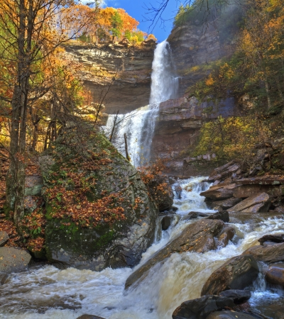 Kaaterskills Falls in Autumn after a heavy rain in the Catskills Mountains of New York.  HDR panoramic image. photo