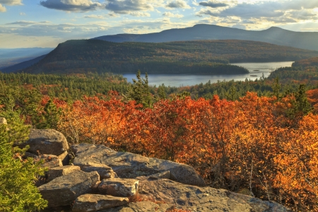 the valley: Afternoon sun on sunset rock in the Autumn, overlooking North-South Lake in the Catskills Mountains of New York. (HDR)