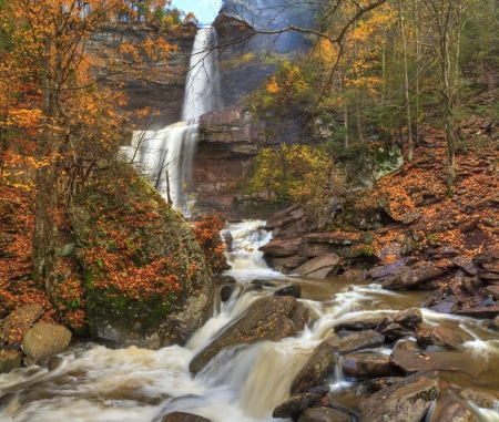 Kaaterskills Falls in Autumn after a heavy rain in the Catskills Mountains of New York.  HDR panoramic image.