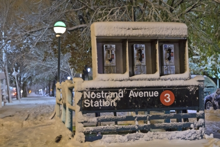 Nostrand Avenue Subway station during November Noreaster on Eastern Parkway in Brooklyn, NY photo