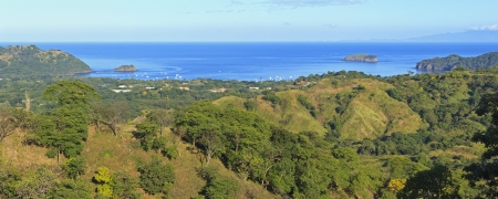 Panoramic view of Playa del Coco and Ocotal on the Pacific from the heights on Cerro Ceiba in Guanacaste, Costa Rica
