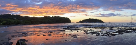 Colorful sunset panorama from Playa Ocotal on the Pacific Ocean in Guanacaste, Costa Rica