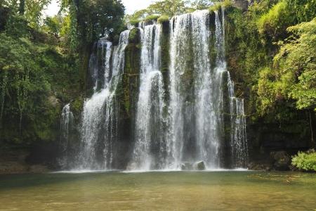 Idyllic Llano de Cortes waterfall in the jungle near Bagaces, Costa Rica Stock Photo
