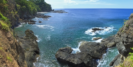 View from the top of some cliffs on Bahia Hermosa on the Pacific Coast of Costa Rica (panorama)