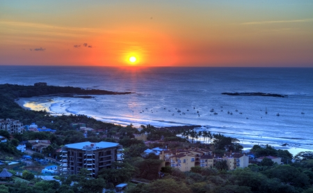 Sun setting over the Pacific Ocean at the surfing town of Tamarindo, Guanacaste, Costa Rica (HDR)