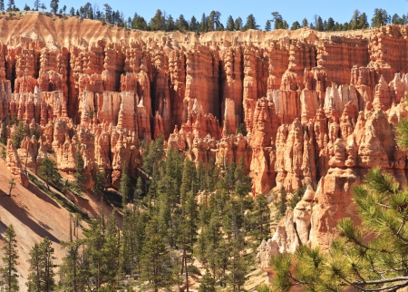 bryce canyon: A ridge of dozens of hoodoos above a valley of sand and pine trees in Bryce Canyon National Park, Utah Stock Photo