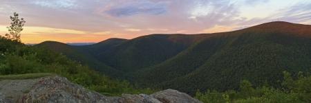 The last rays of sun hit the ridgeline on Mt. Greylock, seen from Stony Ridge in Northwest Massachusetts