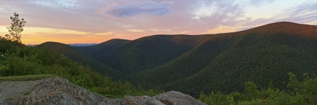 ridgeline: The last rays of sun hit the ridgeline on Mt. Greylock, seen from Stony Ridge in Northwest Massachusetts