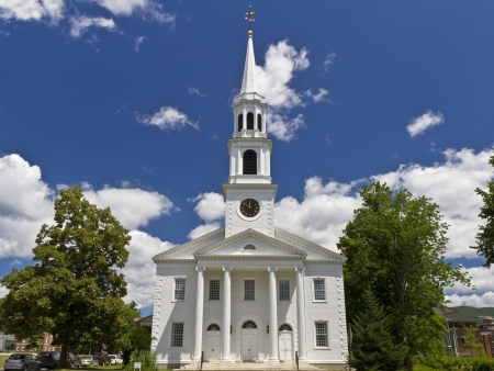 congregational: First Congregational Church in Williamstown (c. 1765), Massahusetts on a beautiful summers day.