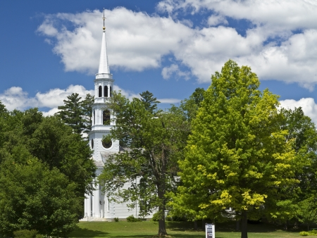 congregational: The white steeple of First Congregational Church in Williamstown (c. 1765), Massahusetts on a beautiful summers day.