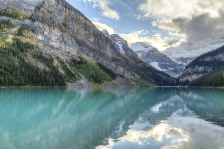 louise: Mountains and glaciers reflected in the idyllic azure glacial waters of Lake Louise, Alberta, Canada  HDR