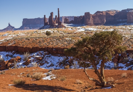 bi: Yei Bi Chei rock formation on a winter afternoon in Monument Valley Tribal Park Stock Photo
