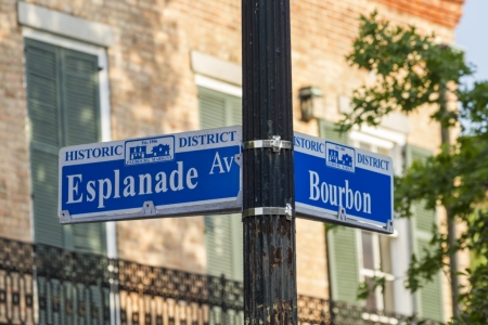 bourbon street: A street sign at the corner of Bourbon Street and Esplanade Avenue in the French Quarter of New Orleans, Louisiana