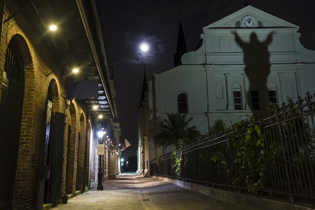 A full moon rises over Pere Antoine Alley and St  Anthony