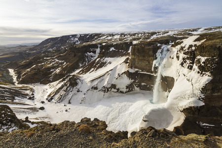 Haifoss, the second tallest watefalls in Iceland, plunges 122m into a frozen gorge in the Fossa River valley in central Iceland