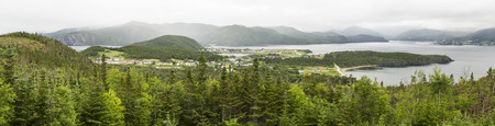 woody bay: Norris Point, Bonne Bay amd Woody Point seen from the view point at the Jenniex House in Gros Morse National Park, Newfoundland Stock Photo