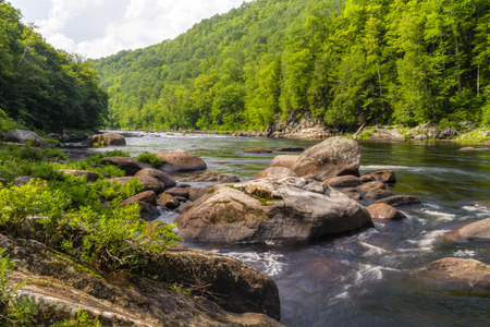 The Hudson River as it flows through the the Hudson Gorge in the Adirondacks Mountains of upstate New York (HDR) Stock Photo