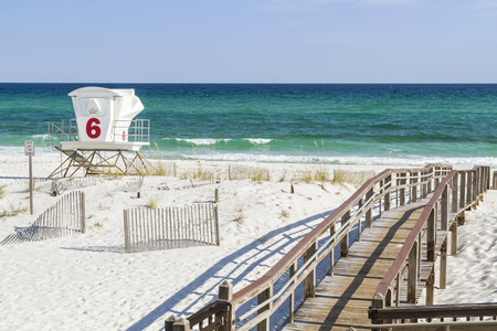 pensacola beach: The boardwalk and number 6 lifeguard station at Park West on the western end of Pensacola Beach, Florida. Stock Photo