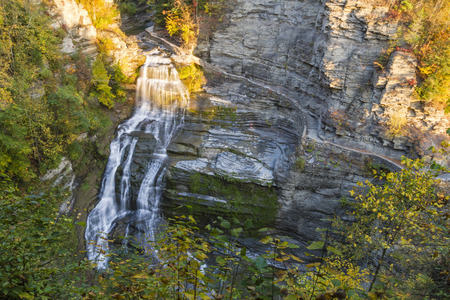 enfield: Lucifer Falls in Autumn seen from the overlook in Robert H. Treman State Park in Trumansburg, New York Stock Photo