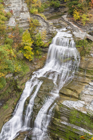 lucifer: Lucifer Falls in Autumn seen from the overlook in Robert H. Treman State Park in Trumansburg, New York Stock Photo