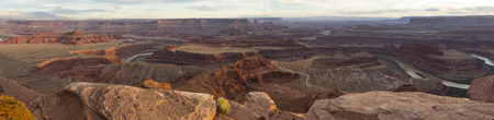overlook: Panoramic view of the Colorado River from Dead Horse Point State Park in Utah, just before sunset.