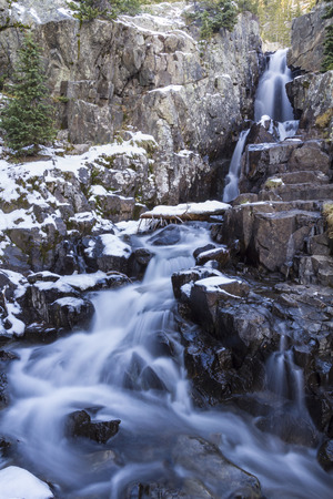 The lower sections of Continental Falls on Spruce Creek on the Mohawk Lakes trail near Breckenridge, Colorado in the Rocky Mountains.