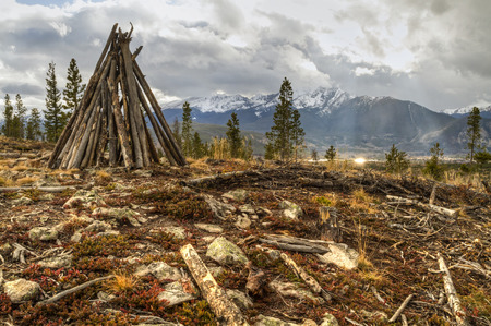 dillon: A teepee-like cairn on top of of Sappire Point above the Dillon Reservoir in the Rocky Mountains of Colorado.