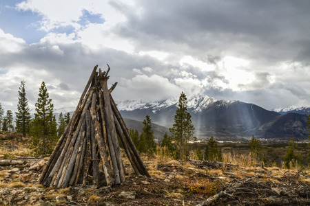 dillon: A teepee-like shelter on top of of Sappire Point above the Dillon Reservoir in the Rocky Mountains of Colorado.