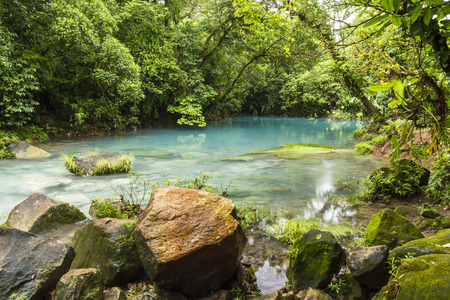 The cerulean blue waters of the Blue Lagoon on the  Rio Celste in Volcan Tenoria National Park, Costa Rica.
