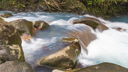 cerulean: The cerulean blue waters of the Rio Celeste in Volcan Tenorio National Park, Costa Rica. Stock Photo