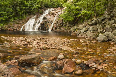 north cascade national park: Mary Ann Falls and copper colored swimming hole in Cape Breton Highlands National Park, Nova Scotia