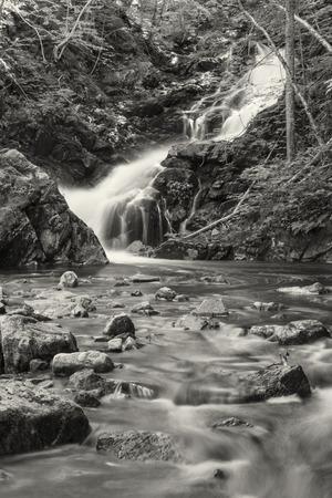 macintosh: A long exposure of Macintosh Brook Falls off the Cabot Trail in Cape Breton Highlands National Park, Nova Scotia (B&W)