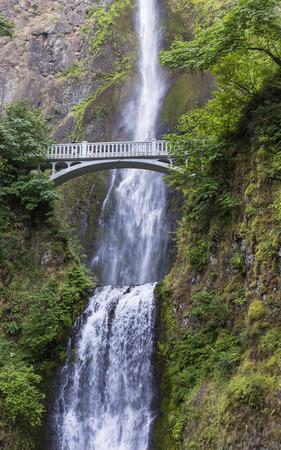 oregon cascades: A footbridge arches over Multnomah Falls, on of the tallest waterfalls in the U.S., near Portland, Oregon Stock Photo