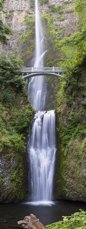 tallest bridge: A vertical panorama of Multnomah Falls, the tallest waterfalls in Oregon, and one of the tallest in the U.S.